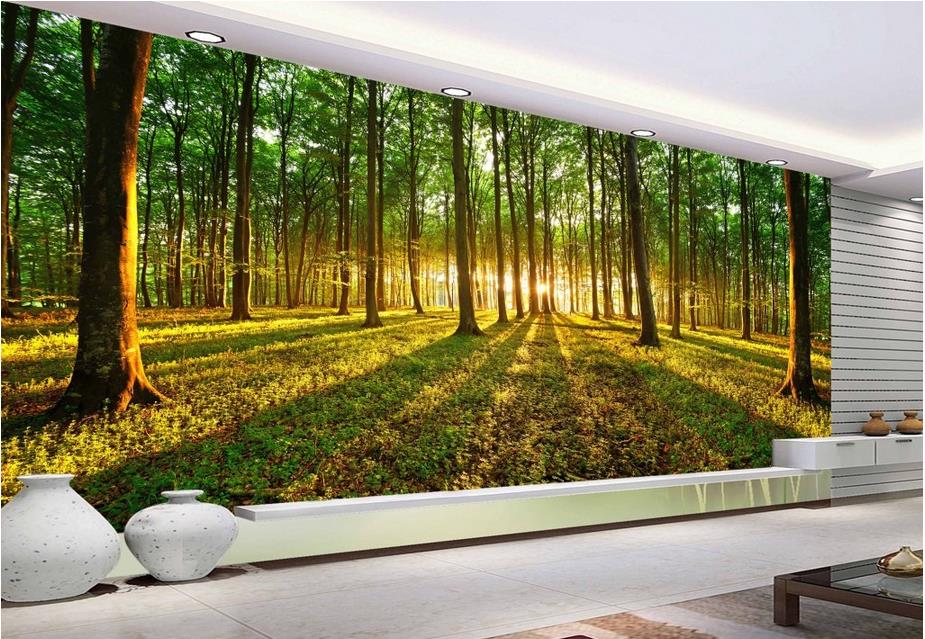 Tree Plant Forest Flower Sunlight Grass Photo Wallpaper Mural Home Decoration