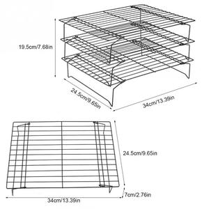 Image 2 - 3 Layers stackable cooling rack metal cake cookie biscuits bread cooling rack net mat holder dry cooler for cooking
