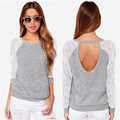 the new fashion female T shirt long sleeved lace sweater hollow out solid gray women T-shirt O-Neck top tees