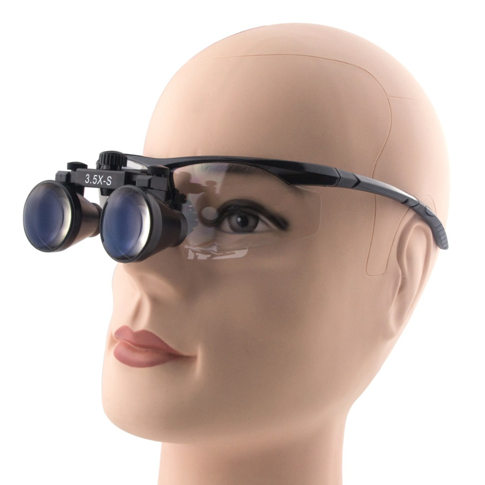 3.5X Magnifier 280-380mm Working Distance DentistSurgical Medical Binocular Dental Loupes Glasses Plastic Sport Frames professional 3 5x magnifier 280 380mm working distance dentist dental surgical medical headband binocular loupes optical glasses