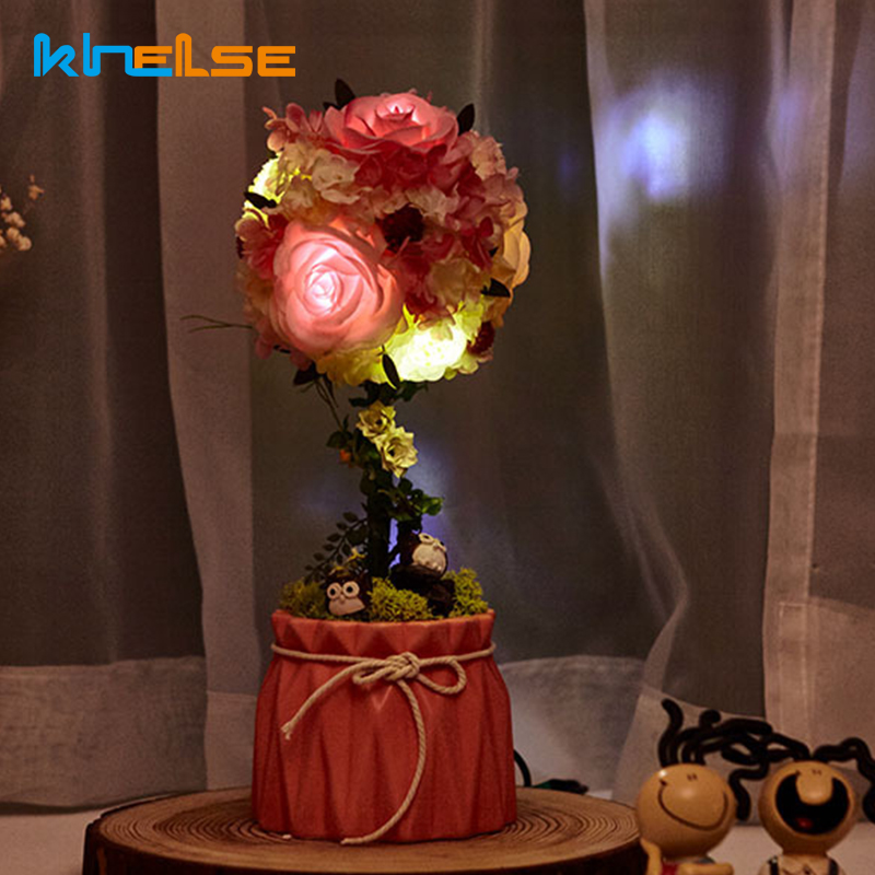 LED Night Light Artificial Fake Rose Flowers Bridal Bouquet Simulation Home Wedding Party Event Decor Women Lover Romantic Gift