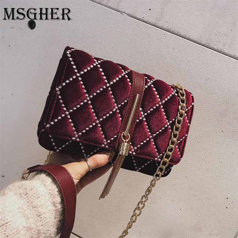 MSGHER Luxury Handbags Women Bags Designer Vintage Velvet Chain Evening  Clutch Messenger Crossbody Bags For Women 3adc551d4146
