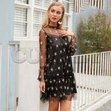 CUERLY Mesh star print transparent lace dress women Hollow out long sleeve summer Streetwear short casual vestidos