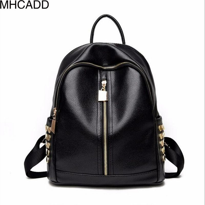 MHCADD New Famous Brand Backpack Black Women Backpacks Solid Vintage Girls School Bags for Girls Casual Leather Backpack Bag xiyuan brand women genuine leather backpacks famous brand vintage backpack for teenage girls school bags casual travel bag