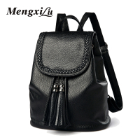 MENGXILU Fashion Weave Women Backpacks High Quality Youth PU Leather Backpacks For Teenage Girls Mochil Tassel