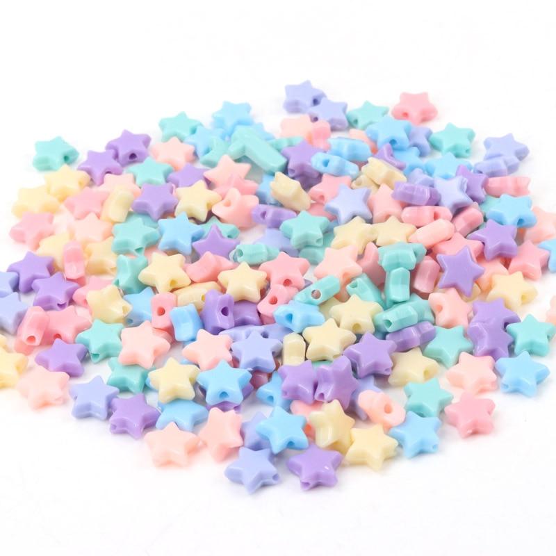 Акриловые бусины со звездами весеннего цвета для самостоятельного изготовления ювелирных изделий, оптовая продажа, 10 мм, 100 шт.