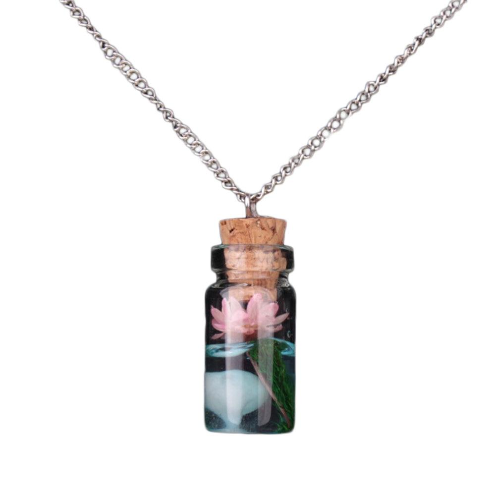 Hot Sale Vintage Luminous Glow Dark Flower Pendant Fluorescent Glass Drift Bottle Necklace Gift Jewelry