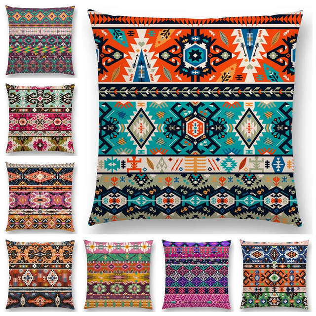 Hot Sale Colorful Seamless Aztec Decorative Prints Fancy Abstract Simple Aztec Decorative Pillows