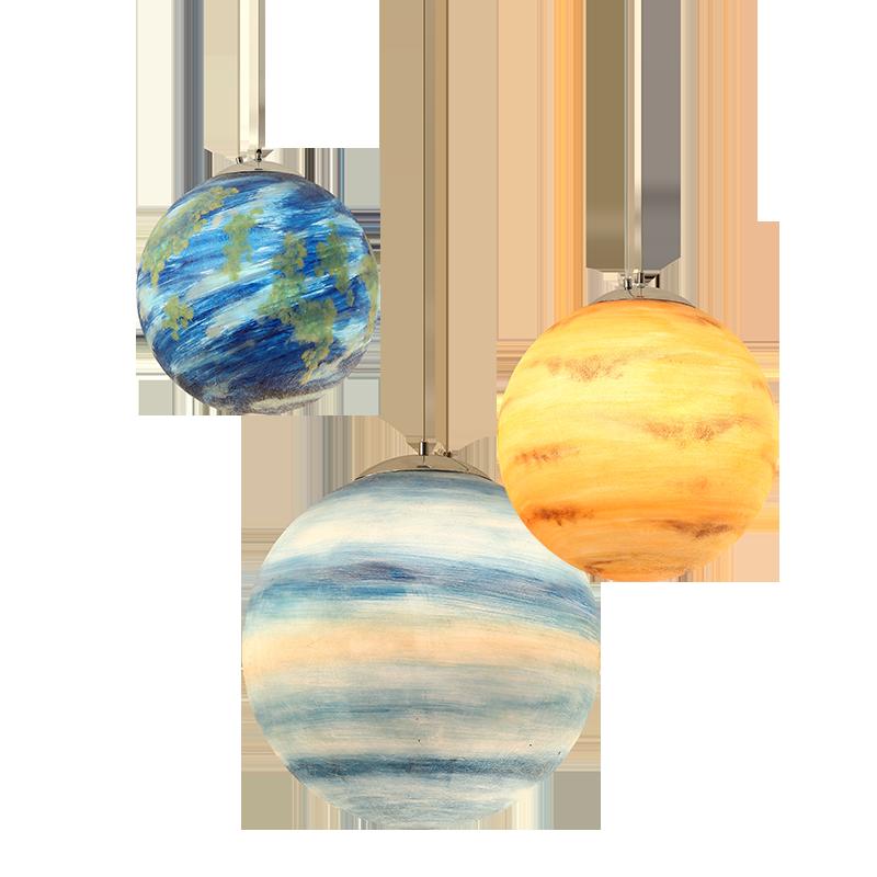 Lampe suspension acrylique planète créative nordique lune soleil terre Mars Uranus mercure Jupiter saturne planète lampes