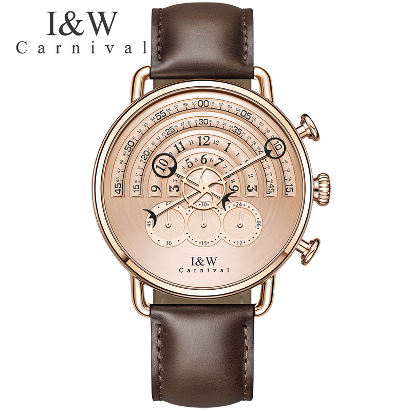 CARNIVAL New Chronograph Men Watch Top brand Luxury Quartz Watch men Leather band Runway dial Sapphire Waterproof Fashion casual