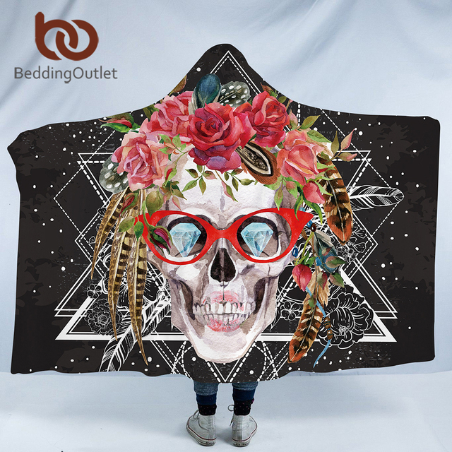 BeddingOutlet Velvet Plush Hooded Blanket for Adults Skull With Glass Floral Sherpa Throw Blanket Gothic Microfiber 150cmx200cm