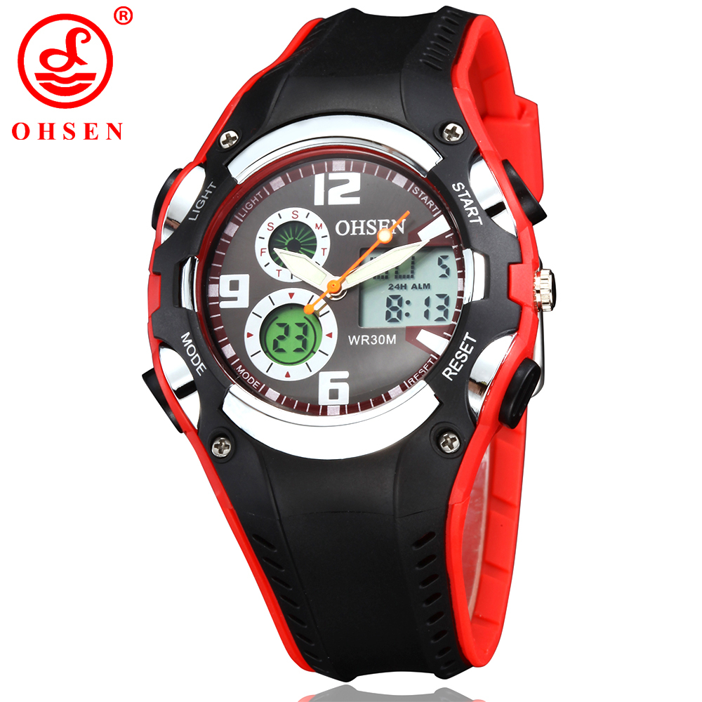 New OHSEN Fashion Brand Digital Watch Sports Watches Wristwatch Childrens Boys Waterproof Quartz Watch Rubber Band