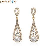 Top Quality Luxury Champagne Gold Plated Water Drop Earrings Imitation Pearls Earrings Clear CZ Jewelry For