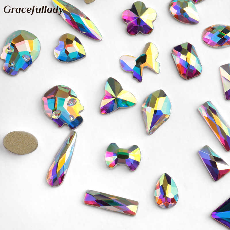 Nail Art Rhinestones 20Pcs/Pack Flat Shaped Elongated Teardrop Rectangle Glass Flame Colorful Stones For 3D Nails Decoration