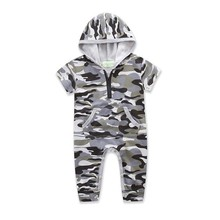 2019 Camouflage New Born Baby Clothes Ropa Bebe Summer Short Sleeve Hooded Romper Cotton Baby Onesie 0-24M Jumpsuit Costume new 2017 ropa bebe branded summer quality 100
