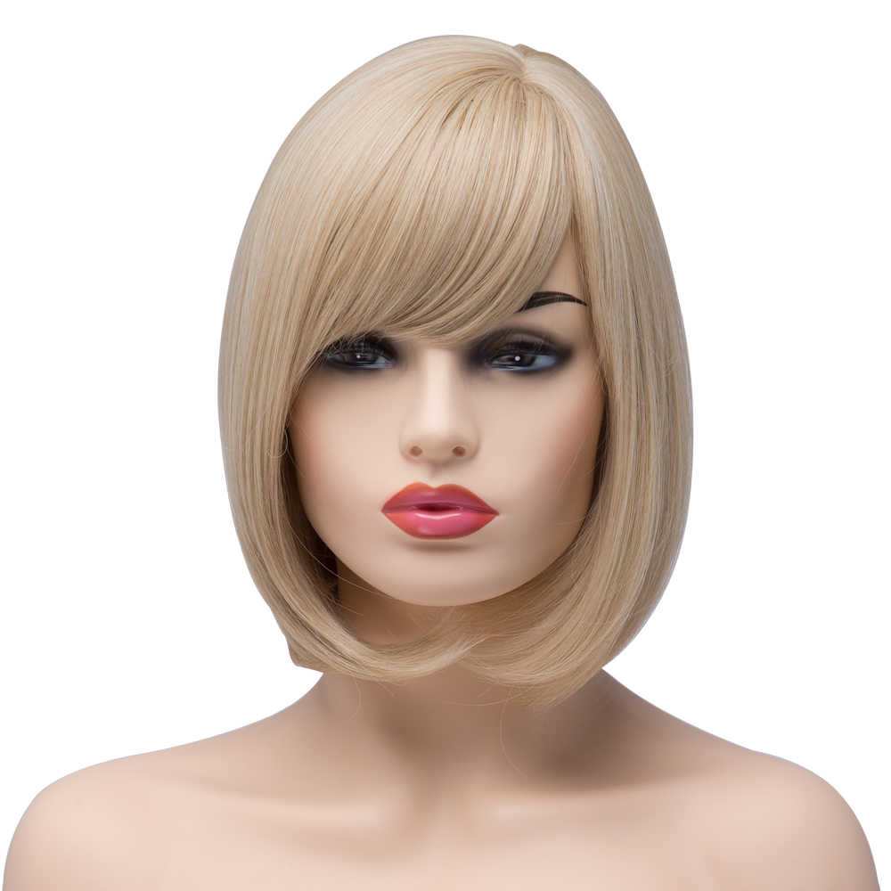 BESTUNG 10 inch Women Short Bob Wig with Bangs Straight Synthetic Blonde Highlight Costume Party Wigs