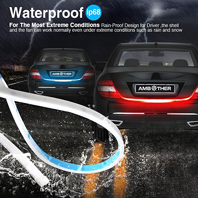Image 3 - Ice blue/Yellow/Red/White flowing Rear LED Trunk dynamic turn signal light strip flexible Tailgate luggage led warnning light-in Car Light Assembly from Automobiles & Motorcycles