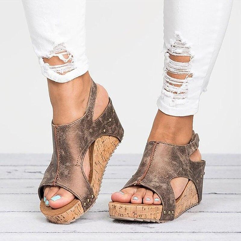 Femmes Sandales 2018 Plate-Forme Sandales Coins Chaussures Pour Femmes Talons Sandalias Mujer Chaussures D'été Compensées En Cuir Talons Sandales 43