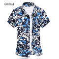 Floral Printing Men Shirt 2017 Summer New Fashion Mens Short Sleeve Shirts Casual High Quality Male Shirts Plus Size M-6XL 7XL