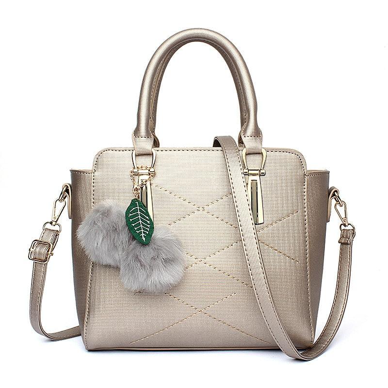 Fashion Elegant Casual Gold Color PU Women Bag Office Lady Handbag Tote Crossbody Messenger