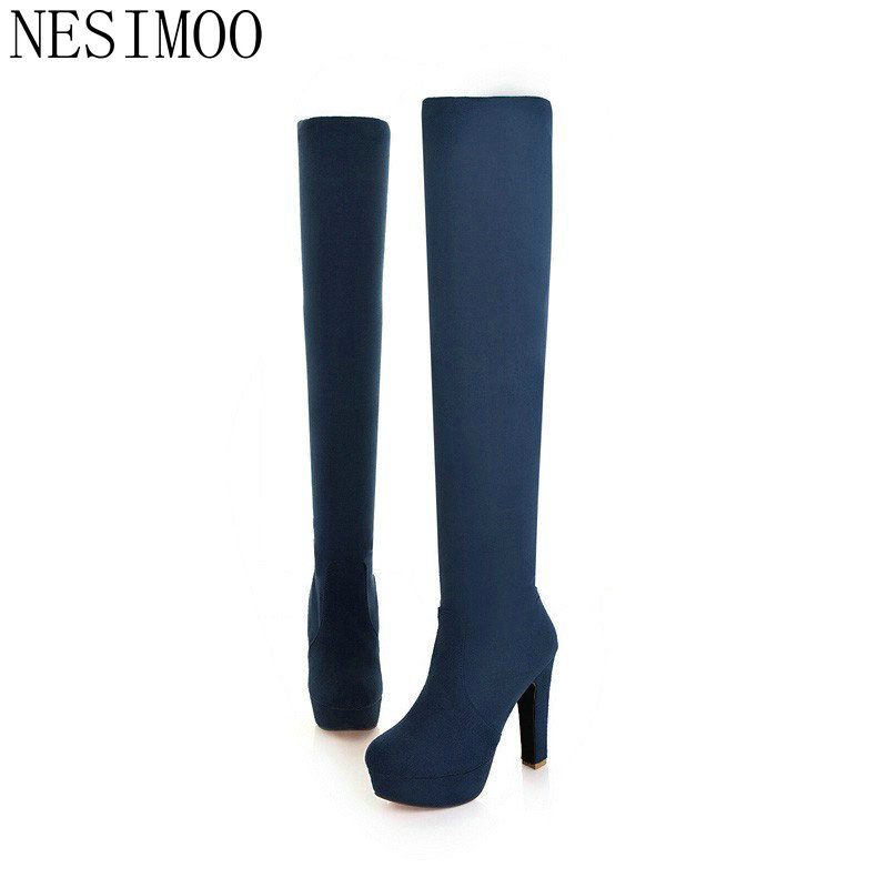 NESIMOO 2018 New Women Boots Sexy Fashion Over the Knee Boots Sexy Thin Square Heel Boot Platform Woman Shoes Black size 34-43
