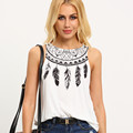 2017 Women Casual Feather Print Summer Style Sleeveless T Shirt Women O Neck Tops Female Tee Shirt Femme camisetas mujer #25