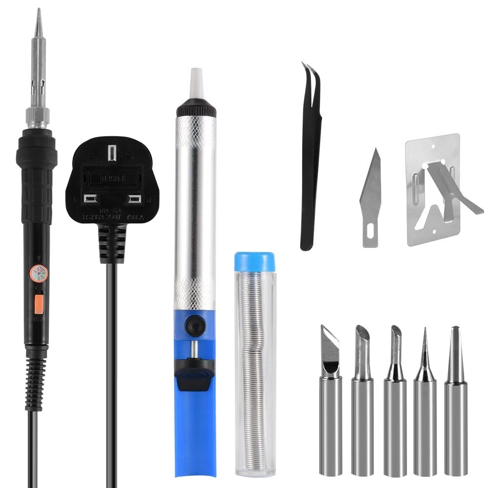 10pcs Solder Iron Set 60W 250V Welding Soldering Accessories Kit Adjustable Temperature Electronic Repair Tool BI720-SZ BI721-SZ 30w 110v heat pencil tip welding solder soldering iron kit electronic tool b813