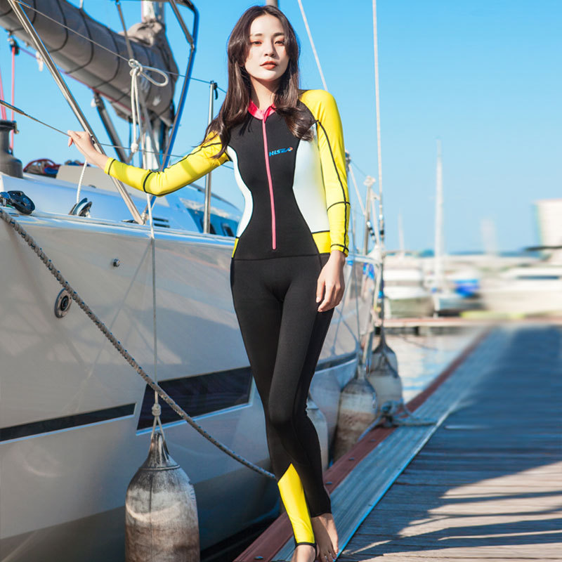 Mulheres <font><b>Lycra</b></font> HISEA Light Manga Comprida Elastic <font><b>Swimsuit</b></font> chita zipper <font><b>Rash</b></font> <font><b>Guard</b></font> <font><b>Surf</b></font> image