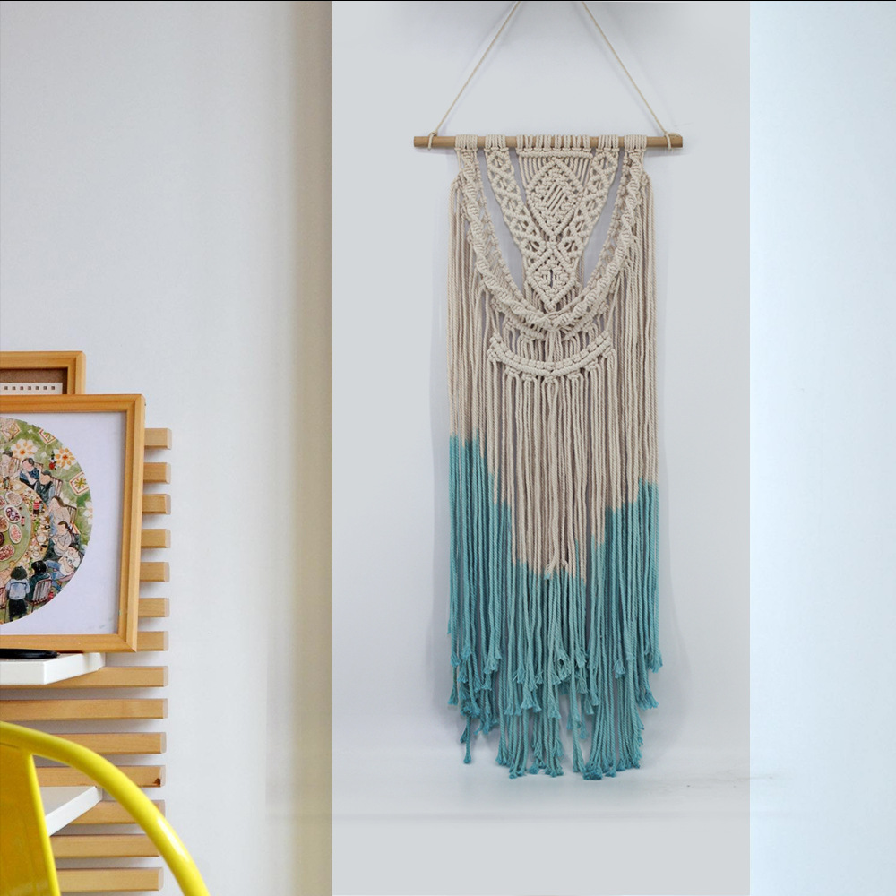 Boho Handmade Cotton Wall Hanging Tapestry Lace Tassle Fabrics Bohemian Backdrop Wedding Decoration Macrame Wall Art