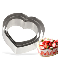Stainless Steel Heart Shape Mousse Ring Mould Set Cake Molud Cake Ring