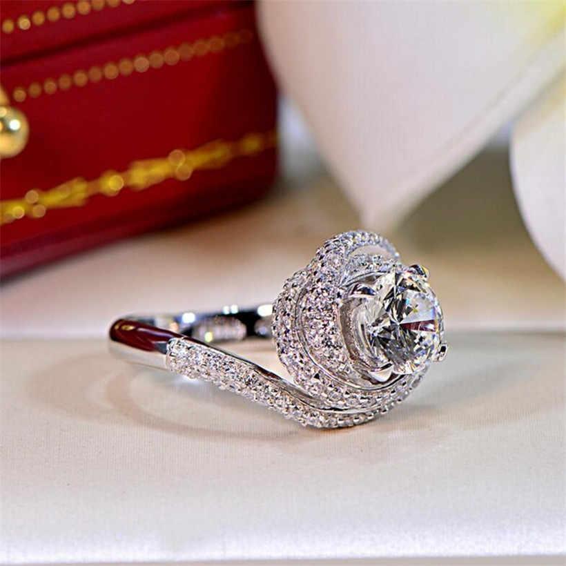 แท้ 100% แท้ 925 แหวนเงินสำหรับสุภาพสตรี 3 กะรัต SONA แหวนหมั้นเพชรเครื่องประดับขนาด 5-10