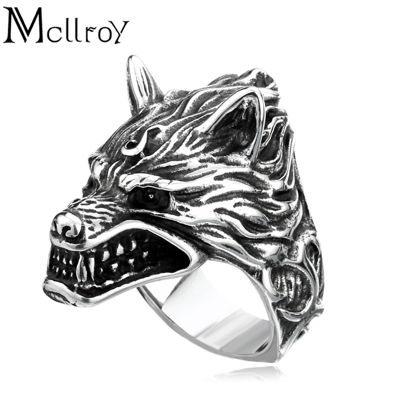 Mcllroy Ring men Jewelry Vintage The witcher wolf ring