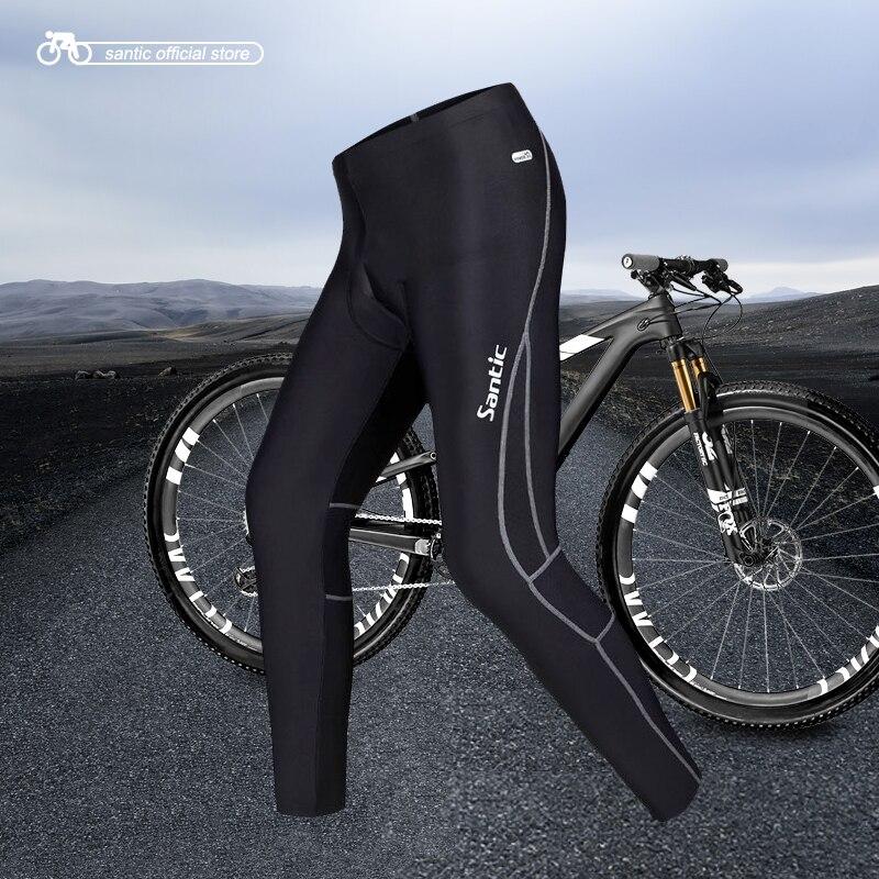 Santic Spring Cycling Pants Men Long Pants Cycling Bike Riding Cycling Pants Mens Padded Gel Black Pants Cycling 3XL MC04015