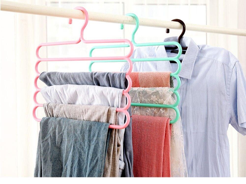 2 pcs/lot Color anti-skid trousers rack Hanger multi-function 5 layer pants hanger scarf silk tie mounts Plastic Clothes Peg