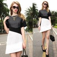فساتين ربيع وصيف متماثلة فستان أسود أبيض قصير الأكمام سليم فساتين النساء ملابس للسيدات vestido NS166