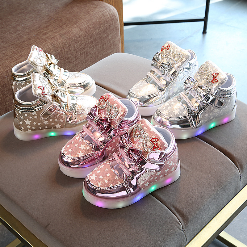 Glowing Sneakers Shoes Basket Led Lights-Up Flashing Girls Breathable Children New-Arrival