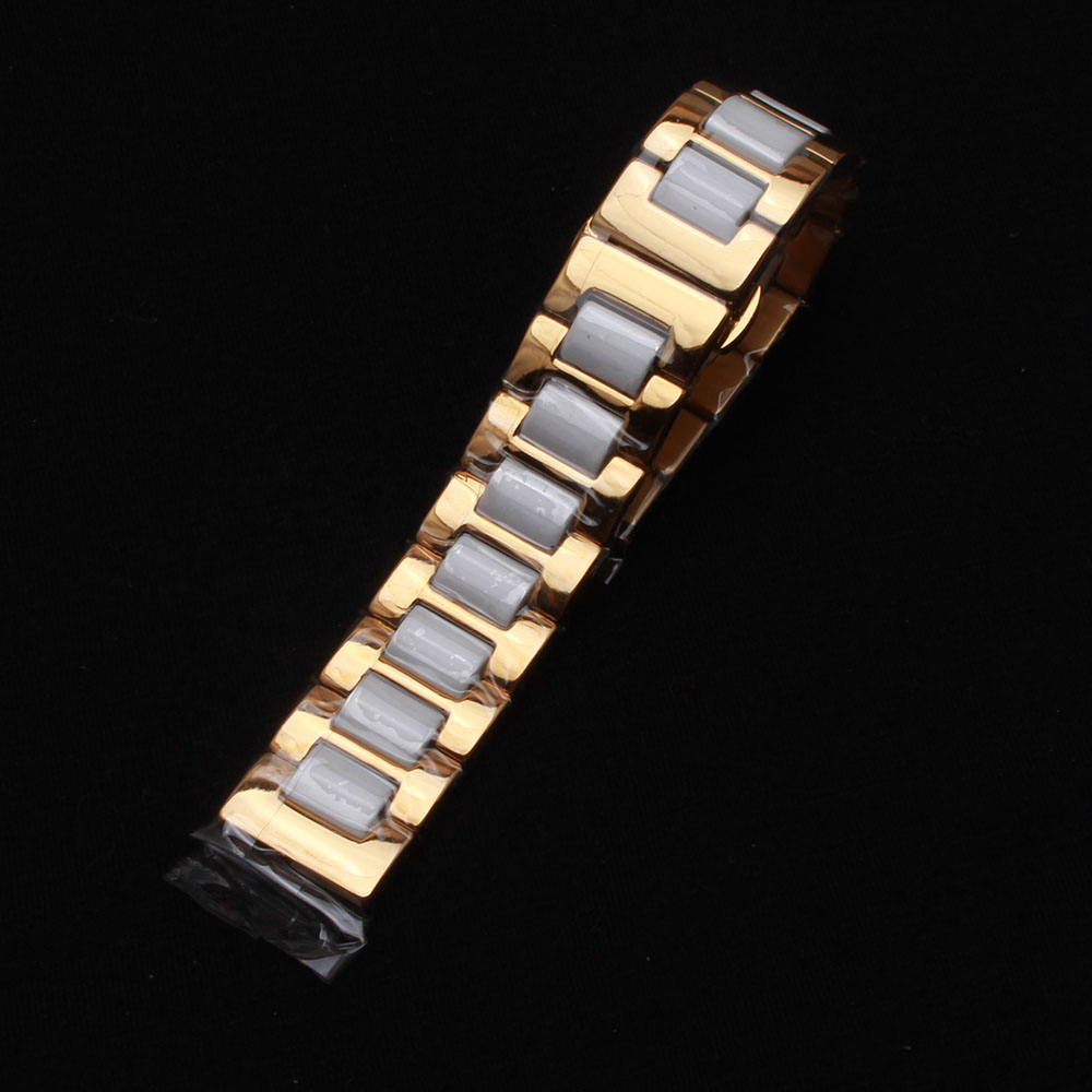 16mm 18mm 20 22mm ceramic and stainless steel watchband Rose gold white Rose gold black watch band watch strap Butterfly Buckle