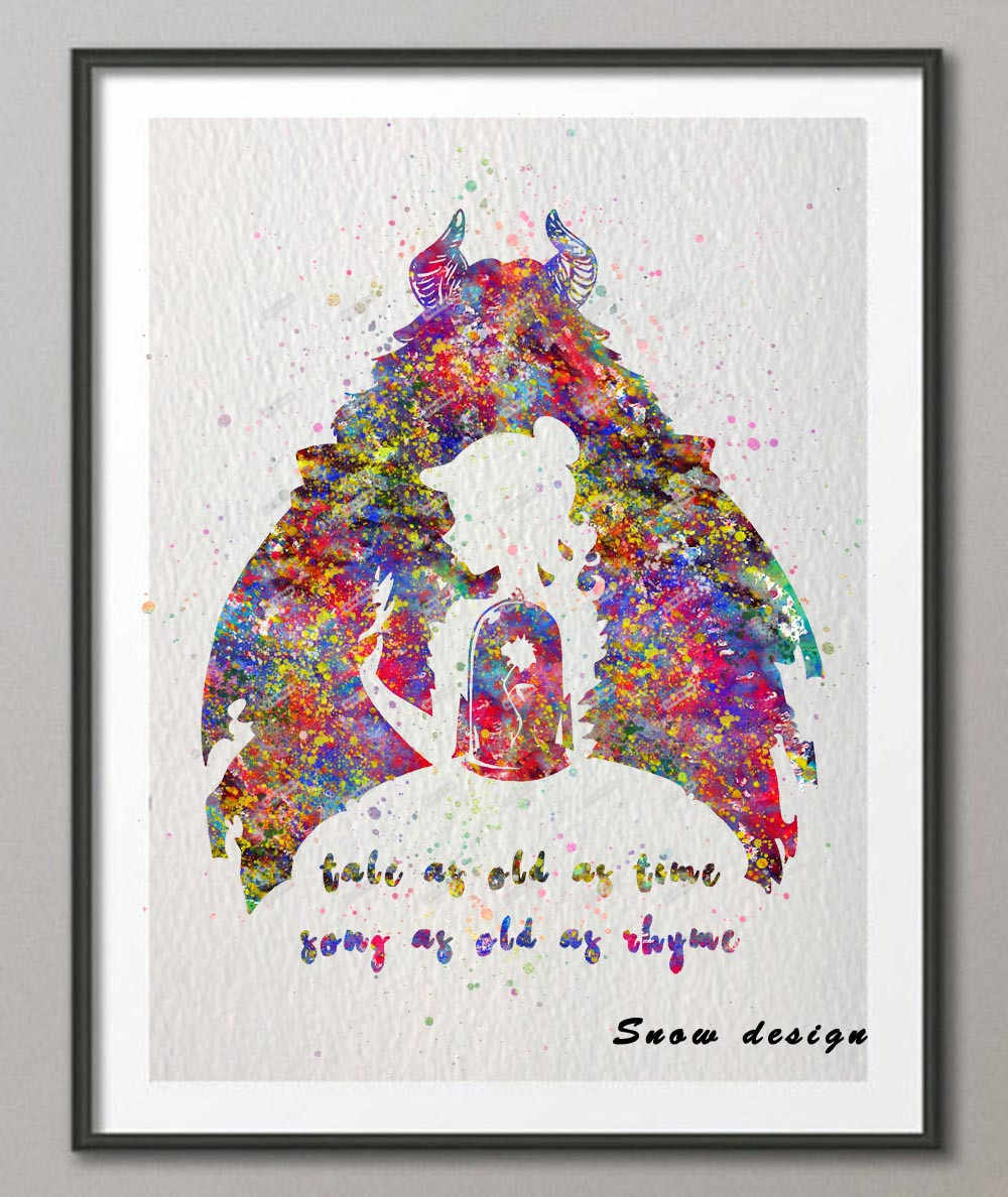 Original watercolor beauty and the beast quote wall art poster print pictures canvas painting kids room home decoration wall art
