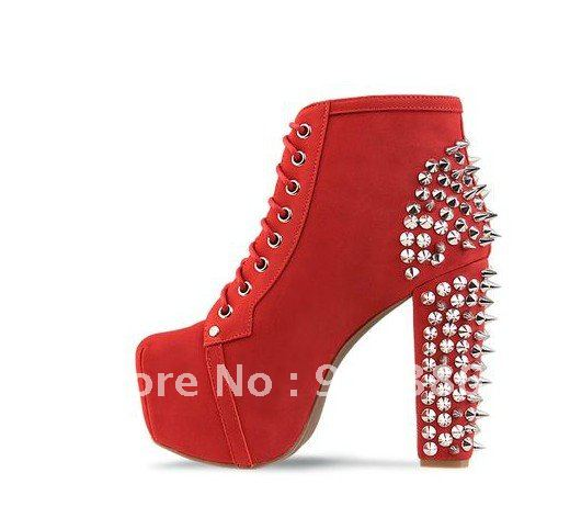 2012 red spikes studs shoes platform wedges heels high hell boots ...