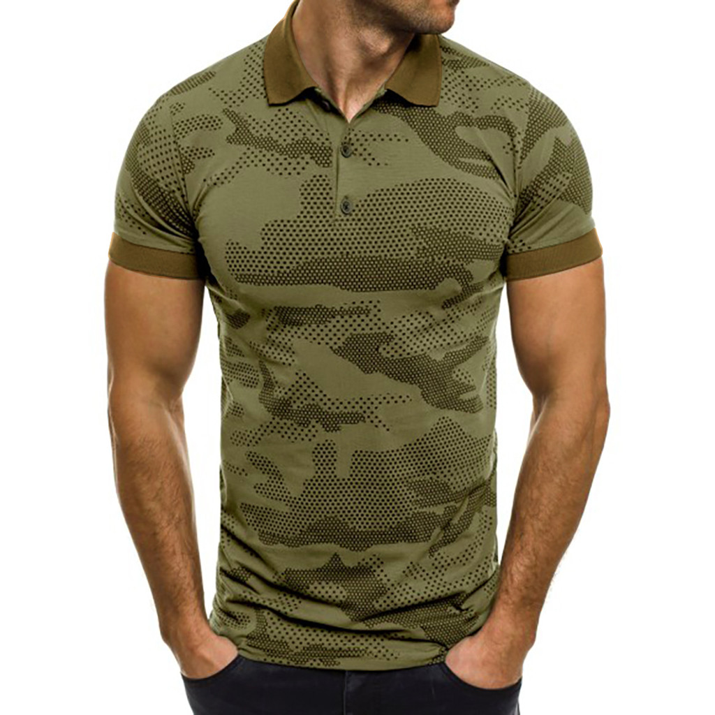 Polo   Shirt Men 2019 Camouflage Camisa   Polos   Masculina Splicing Pattern Casual Turn Down Collar Short Sleeve Men   Polo   Shirt