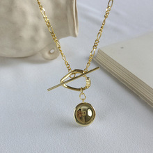 Silvology 925 Sterling Silver Exaggerated Geometry Necklace Gold Glossy Creative Pendant Necklace Fo