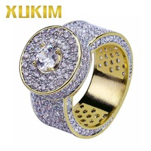 Xukim Jewelry Full Iced Out Classic Big Roung Gold Rings for Men AAA Cubic Zirconia Hip Hop Rock Rapper Jewelry Party Gifts цены