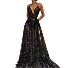 2019 Sexy Womens Maxi Dress Sleeveless Deep V-Neck Beach Bodycon Dress asymetric v neck womens bodycon dress
