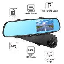 """2.8 """"coche DVR Dash Cam DVR 1080 P Full HD Cámara de Visión Trasera Espejo de Coche detector de Video Grabación Cíclica Real tiempo de Vigilancia"""