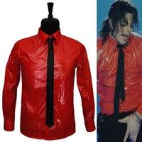 Популярные Красные Лакированная кожа Панк производительность Рубашки для мальчиков брендовая одежда для Вентиляторы MJ опасных набор сбор