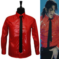 Hot Red Patent Leather Punk Performance Shirts Brand Clothing For Fans MJ Dangerous Set Collection,MICHAELJACKSON Costume