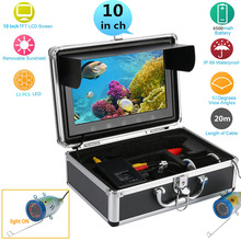 GAMWATER 10″ Inch Color Monitor 20M HD 1000tvl Underwater Fishing Video Camera Kit 12 PCS Infrared Lamp Lights