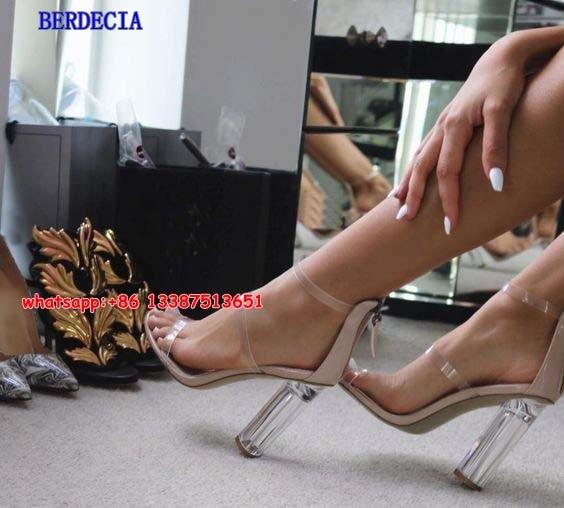 <font><b>Nude</b></font> Leather <font><b>Clear</b></font> PVC Strappy Gladiator Sandals 2017 New Fashion Chunky High Heels Sandals Women Party Women Shoes Big <font><b>Size</b></font> <font><b>10</b></font>
