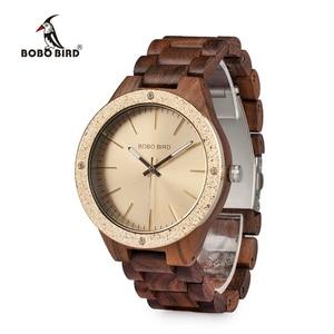 Image 4 - BOBO BIRD Watch Men Quartz Wooden Wristwatches Top Brand Luxury Mens Watches in Wooden Box relogio masculino Great Mens Gift