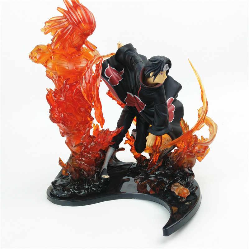 23 centímetros Anime Naruto Ação PVC Figura Zero Sasuke Uchiha Itachi Fogo Susanoo Relação Coleção Toy Modelo